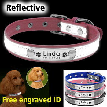 Personalized Dog Collar Leather Reflective Dogs Collar ID Engrave Custom Tag Engraved Puppy Large Dog Collars Pet accessories custom dog collar personalzied nylon pet dog id tag collars engraved printed puppy collar leash for small medium large dogs