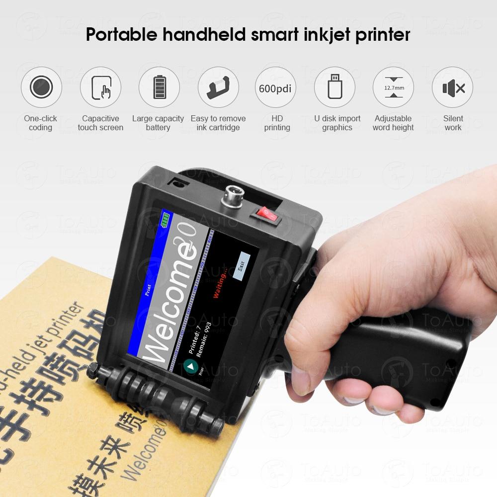 Portable Handheld Mini Inkjet Printer Label Print Machine Touch Screen 600DPI Intelligent USB Date LOGO Barcode QR Code Printer