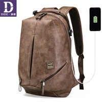 DIDE Vintage Male Backpacks Mochila laptop backpack 15.6 men waterproof usb charging Man's 14 inch travel Casual Bagpack for Men