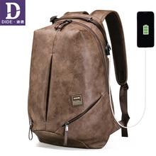 DIDE Vintage Male Backpacks Mochila laptop backpack 15.6 men waterproof usb charging Mans 14 inch travel Casual Bagpack for Men