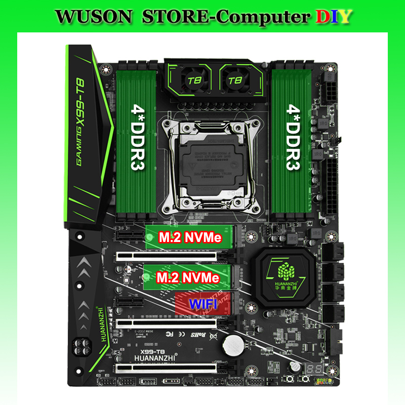 New arrival HUANANZHI X99-T8 motherboard with 8 DDR3 DIMMs discount X99 DUAL M.2 NVMe SSD slot M.2 WIFI slot 8 SATA3.0 ports