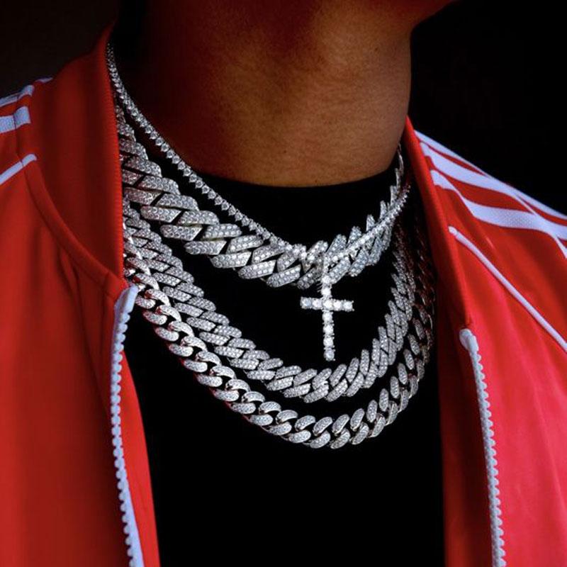 Black Man Hip Hop Chains Wholesale Men's Necklace Iced Out Miami Cuban Chain Bracelet Rapper Jewelry Dropshipping