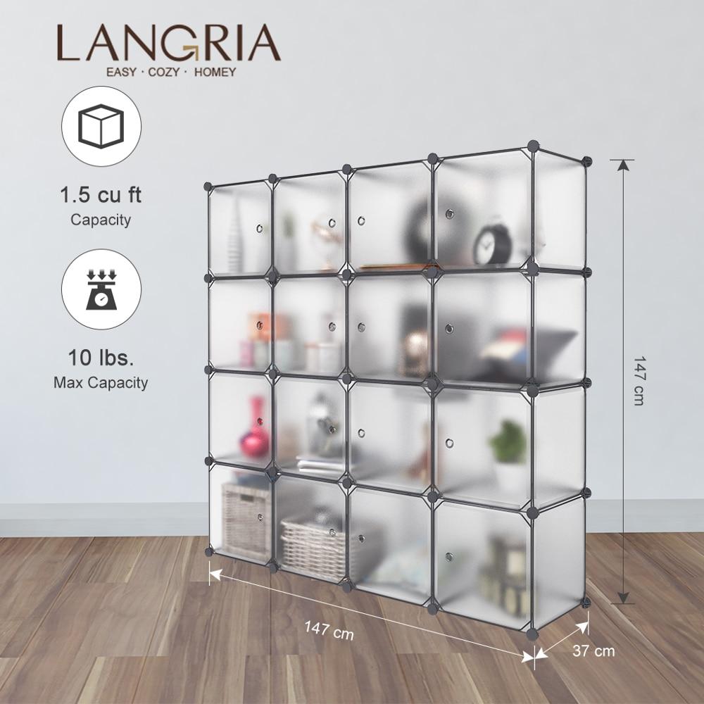 LANGRIA 16 Cube DIY Modular Storage Closet Plastic Cube Mutiluse Oragnizer Storage Wardrobes Closet Cabinet Bedroom Living Room