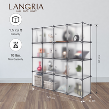 LANGRIA 16 Cube DIY Modular Storage Closet Plastic Cube Mutiluse Oragnizer Storage Wardrobes Closet Cabinet Bedroom Living Room