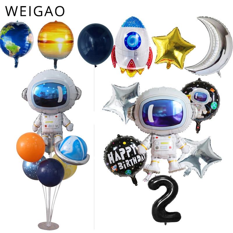 Воздушные шары из фольги для мальчиков, вечеринка в космическом стиле, ракета, корабль, космонавт, галактика, солнечная система, вечеринка, 2 ...