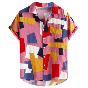 Summer Man Shirt Mens Ethnic Printed Stand Collar Fashion Mens Printed Hawaiian Loose Short Sleeve Casual Buttons Shirt 2