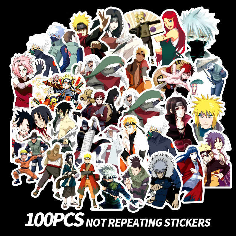 100 Stks/partij Japan Anime Naruto Sasuke Cartoon Voor Snowboard Laptop Bagage Koelkast Auto-Styling Vinyl Decal Home Decor Stickers