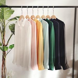 Image 3 - Suyadream mulheres blusas de seda 100% real seda sólida manga comprida botão básico escritório senhora blusa camisa 2020 chique camisa