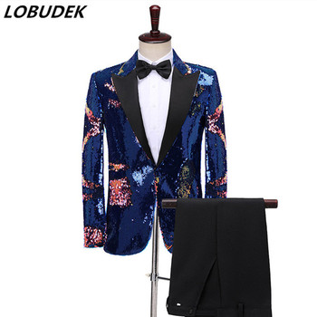 Two Pieces Set Suits Men's Singer Host Performance Stage Luxury Blue Sequins Tuxedo Blazers Wedding Suits Nightclub Club Costume