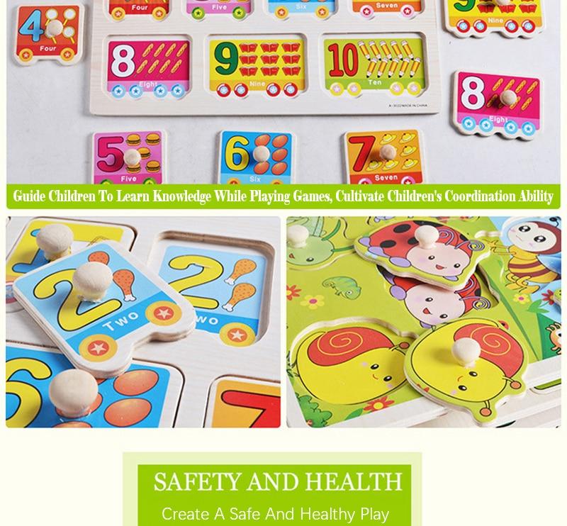 Quebra-cabeças de madeira para bebês, montessori, educativo,