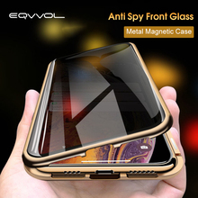 Eqvvol Privacy Tempered Glass Magnetic Case For iPhone XS MAX XR X 8 7 6s Plus Double Sided Magnet Metal Cover 8Plus Cases