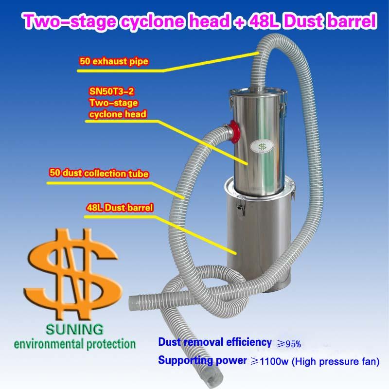 Two-stage Cyclone Head + 48L  Dust Barrel    (1 Piece)