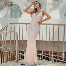 Sequined Women Dress Double V-Neck Sleeveless Sparkle Bodycon Dress Women Sexy Night Club Dress For Party Lange Jurken 2019 bodycon grid spliced sleeveless scoop neck dress for women