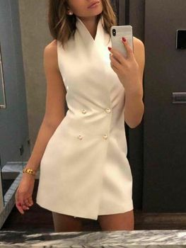 4 Colors HOT Women's Office Lady Formal Summer Sleeveless Solid White Button Wear Business Work Party Pencil Dress Suits 2019 1