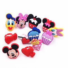 1PCS Mickey Minnie Super Man logo Donald Cake Icon Soft PVC Fashion Finger Rings Kids Party Gifts Jewelry Accessories(China)