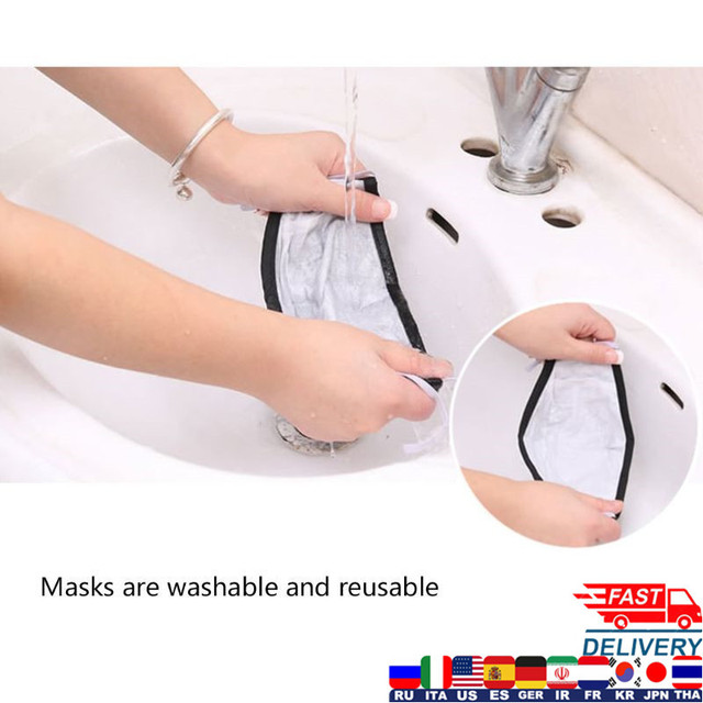 Cloth Face Mask Fashion Unisex Cotton Breath Valve PM2.5 Mouth Mask Anti-Dust Anti Pollution Activated carbon filter 2
