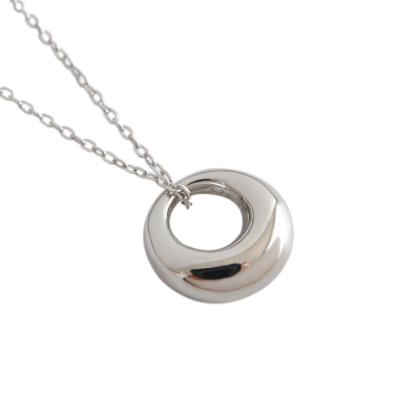 Kinel 925 Sterling Silver Necklace Korea 18K Gold Jewelry Round Pendant Summer Fashion Silver 925 Necklace Ladies