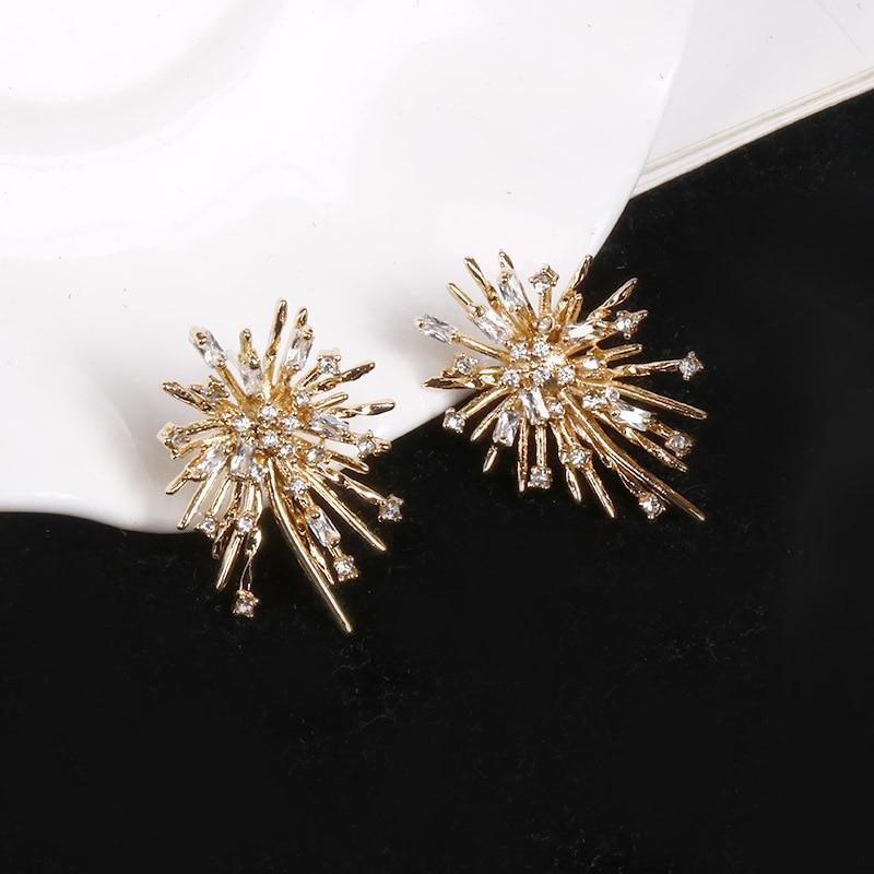 Japan Korea Exaggerated Fireworks Design Full Rhinestone Crystal Big Flower Ball Stud Earrings For Women Elegant Oorbellen