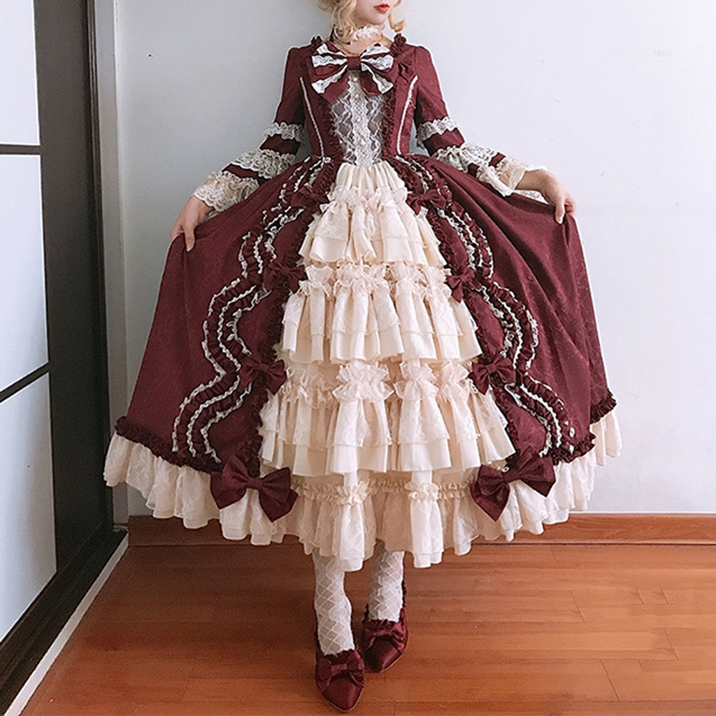 Sexy Princess Lolita Party Women Dress Vintage Fashion Gothic Court Square Collar Patchwork Bow Holiday Dresses Elegant Female
