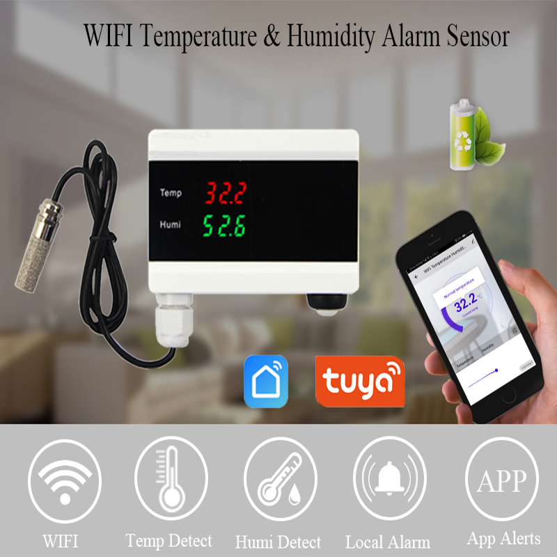 Tuya WIFI Temperature Thermometer Humidity Hygrometer Detector Alarm Sensor Smart Life App Home Thermostat Controller