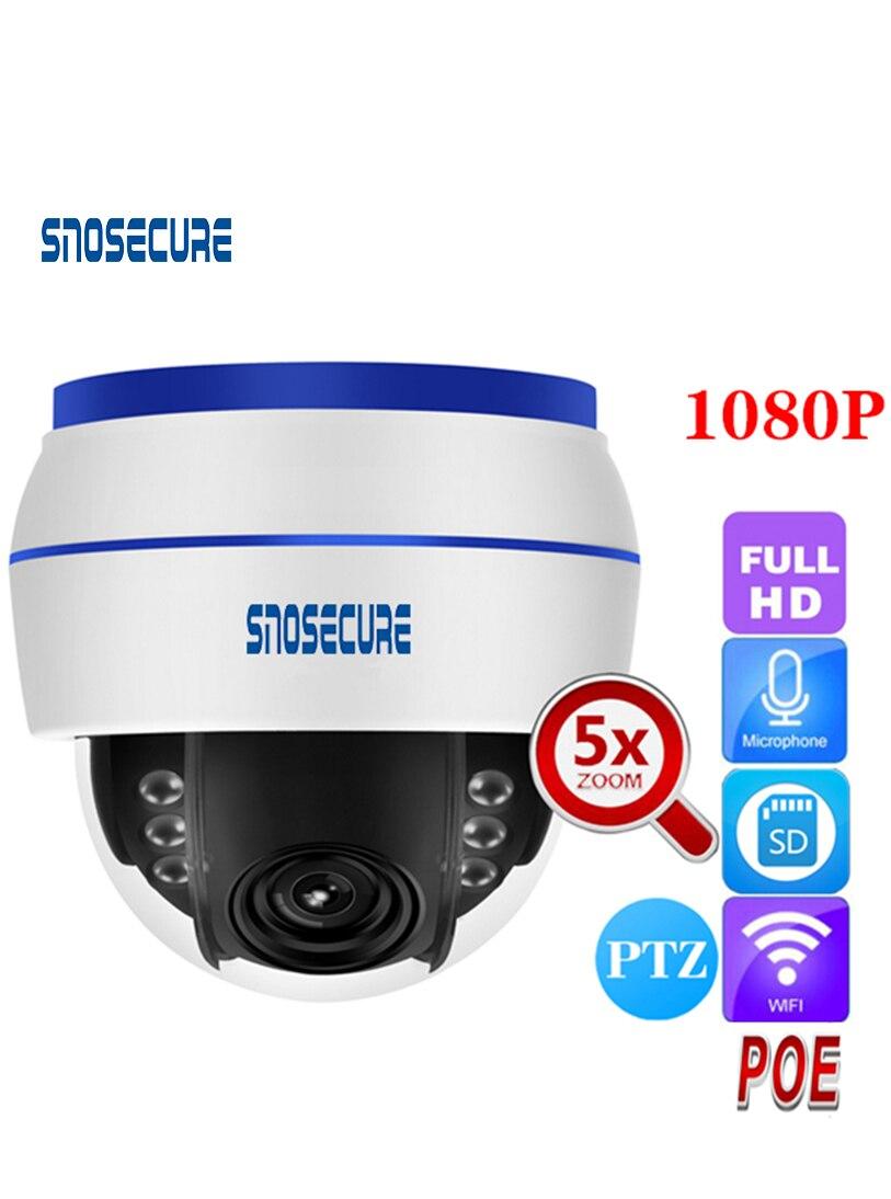 Snosecure câmera ip sem fio da abóbada de velocidade ptz wifi hd 1080 p foco automático 5x zoom interno cartão sd áudio ir noite onvif p2p poe apoio