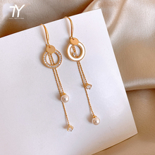 2020 new classic circle pearl Tassel Earrings Fashion long women's Pendant Earrings Korean sexy jewelry unusual girl's Earrings