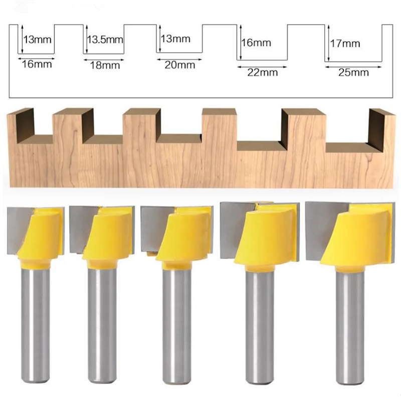 16-25mm Woodworking Router Bit 8mm Shank Surface Planing Bottom Cleaning Wood Milling Router Bit For CNC Cutter