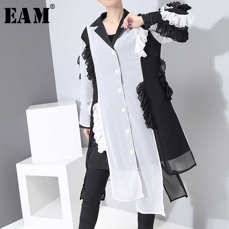 [EAM] Women Black Contrast Color Chiffon Shirt Dress New Lapel Long Sleeve Loose Fit Fashion Tide Spring Autumn 2020 1R299