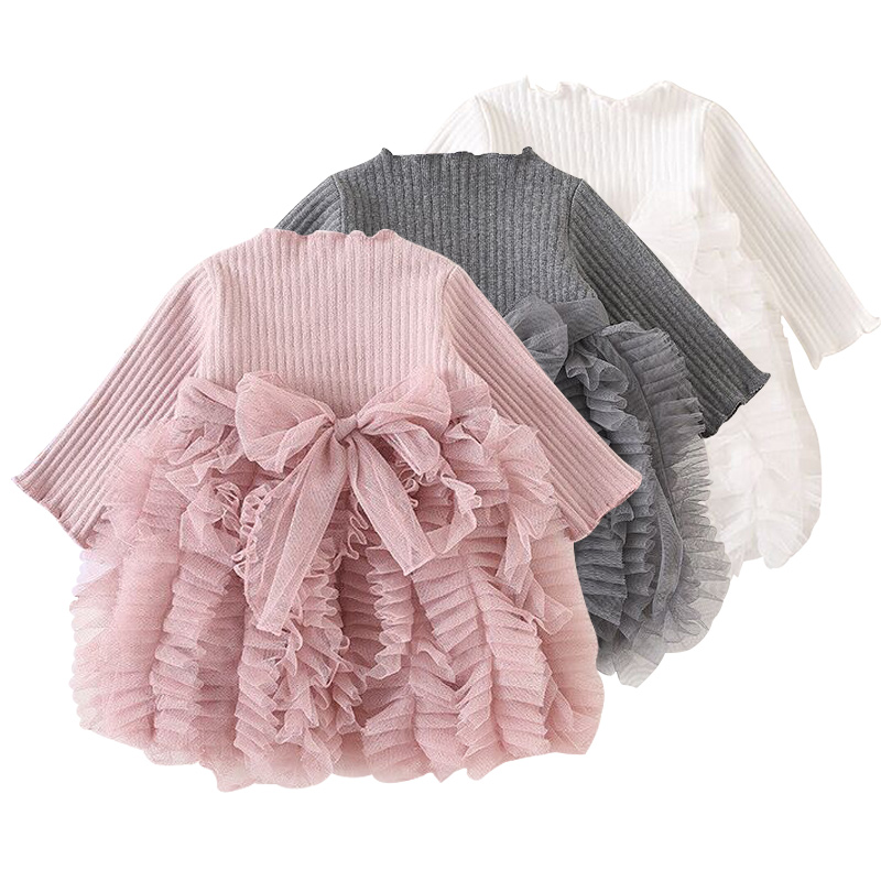 Baby girl clothes baby girl long sleeve stitching mesh tutu princess dress baby girl sweet cute baby girl dress image