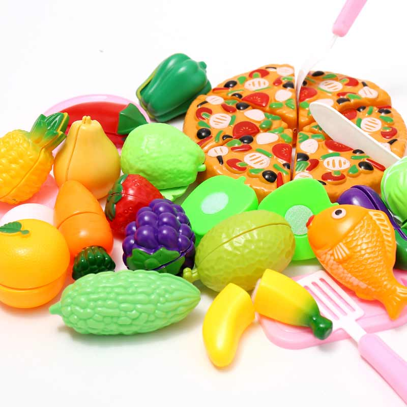 13-29 PCS Kitchen Foods Fruits & Vegetables Pizza Plastic Pretend Cutting Toys BEI JESS Brand Childrens Gift