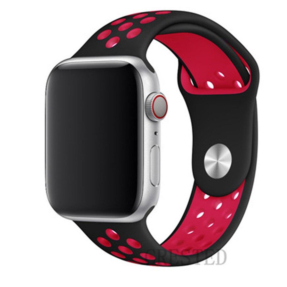 Спортивный ремешок для apple watch band 44 мм/40 мм apple watch 5 4 3 band iwatch band 5 42 мм/38 мм correa браслет ремень аксессуары для часов - Цвет ремешка: black red 23