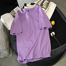 NEEDBO Women Tshirt Cotton Sexy Casual t Shirt Femme O-neck Short Sleeve Oversize Harajuku T Solid Ladies