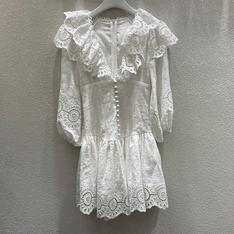 Женское белое платье, высокое качество, хлопок + лен, с вышивкой, для отдыха, пляжа, с длинными рукавами, с v образным вырезом, тонкое мини платье, лето 2020 Платья      АлиЭкспресс
