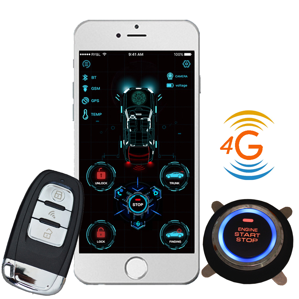 Cardot New 4g Gps Gsm Remote Starter Start Stop Engine Smart Pke Keyless Entry Car Alarm