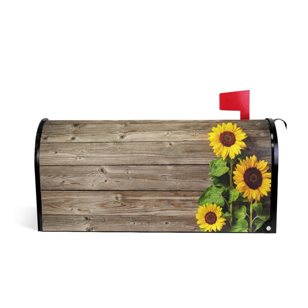 Waterproof Mailbox Cover Wood Pattern With Flower Mail Box Covers Magnetic Mailbox Wraps Post Letter Box Cover Garden Decor