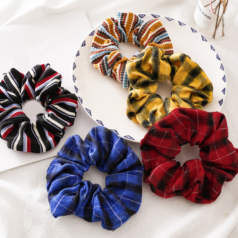 5 Colors Lattice Scrunchie Women Girls Elastic Hair Rubber Bands Accessories Gum For Women Tie Hair Ring Rope Ponytail Holder