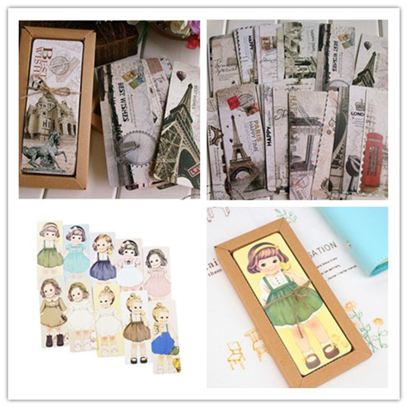 29PCS/pack Cute Kawaii For Kids School Materials Doll And Tower Two Design Bookmarks For Books Gift Stationery