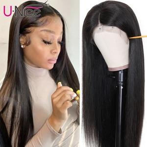 Image 2 - Unice cabelo 13x 4/6 reta frente do laço perucas de cabelo humano com o cabelo do bebê peruca frontal do laço suíço pré arrancado peruano remy peruca de cabelo