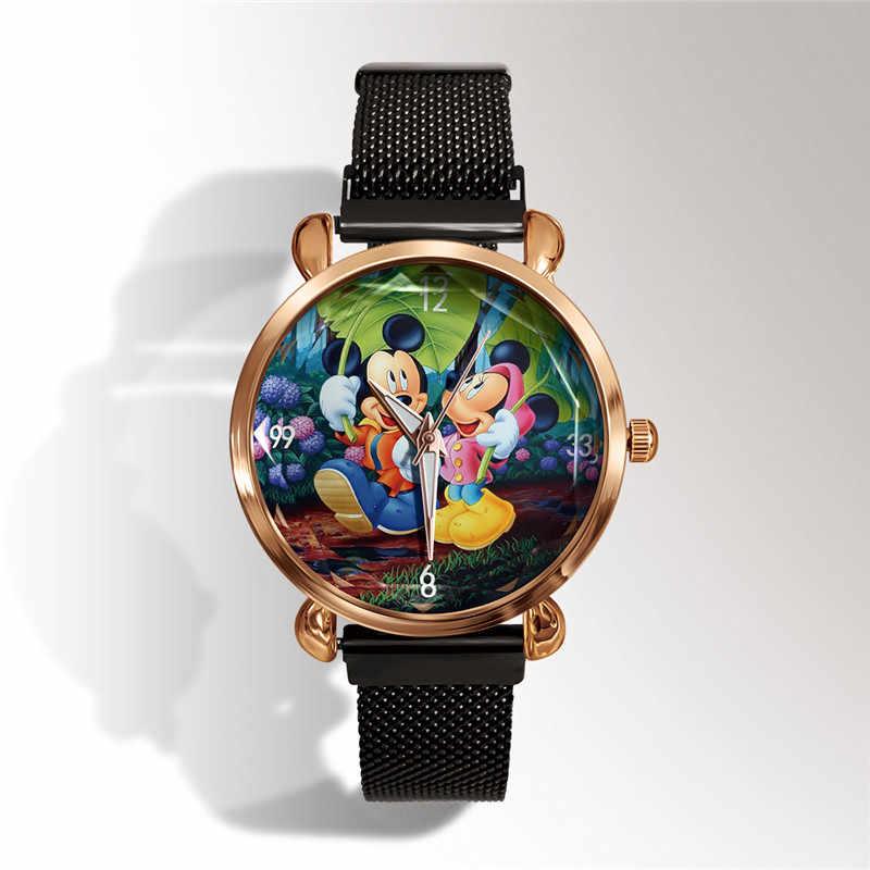 ホット高級ミッキーマウス & ティンカーベル金属メッシュステンレスカジュアルクォーツ時計女性ドレス漫画腕時計レロジオ Feminino