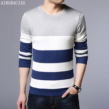 AIRGRACIAS Sweater Men Autumn Winter Warm Mens Knitted Thicken Fleece Sweaters Casual O-Neck Pull Homme Pullover Men Size M-4XL цена