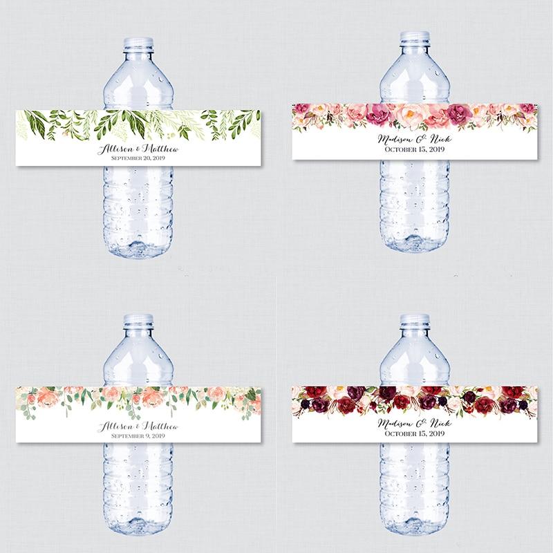 Printable Printed Wedding Water Bottle Labels - Rustic Pink Flower Custom Water Bottle Labels - Personalized Water Bottle Lab