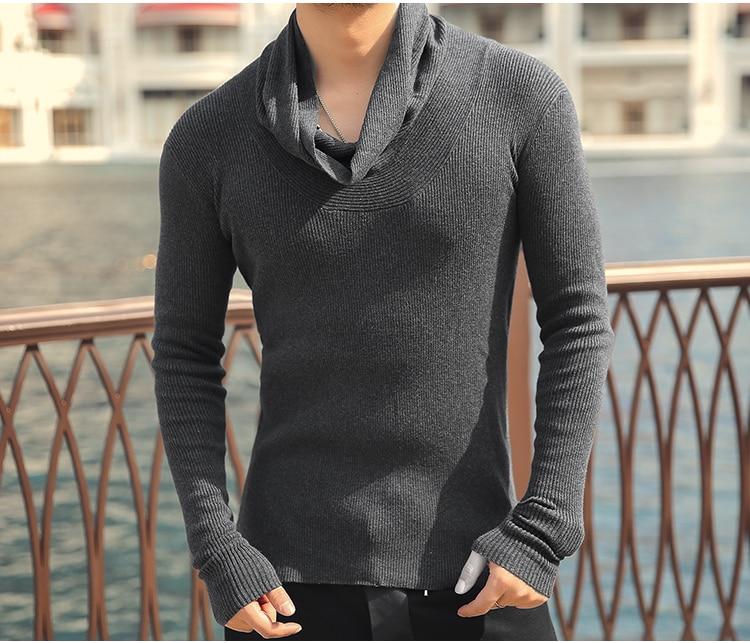 Winter High Neck Thick Warm Sweater Men Slim Fit Turtleneck Sweaters Men Knitwear Pullover J807