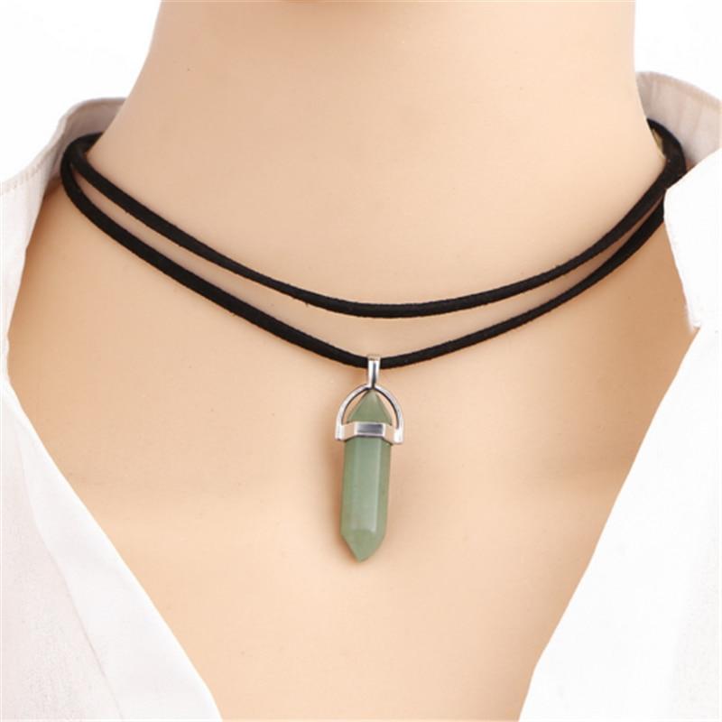 Natural Reiki Chakra Necklace Crystal Hexagonal Pointed Chakra Stones Pendant Women Black PU Leather Choker Statement Necklace