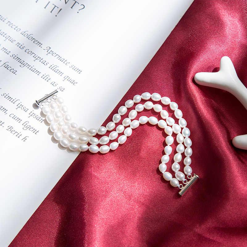 Clássico preto 40cm 3 camadas feminino pérola gargantilha colar com 6-7mm redondo pérola de água doce natural para o presente de casamento feminino 2019