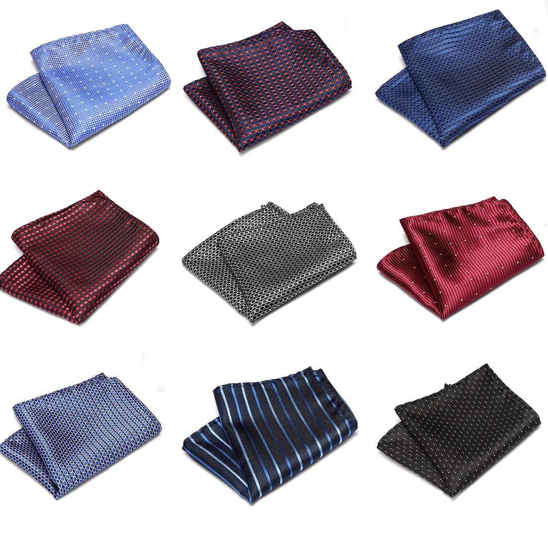 Luxury Men's Handkerchief Polka Dot Striped Floral Printed Hankies Silk Hanky Business Wedding Pocket Square Chest Towel 22*22CM