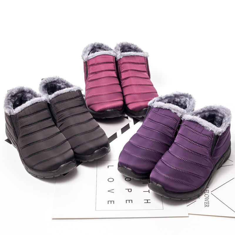 BONJOMARISA Yeni Bırak Gemi Kış Süper sıcak Ayak Bileği Kar Botları Kadın 2019 Su Geçirmez Platform Patik Casual Flats Kürk Ayakkabı Kadın
