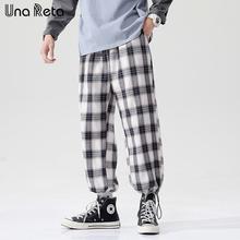 Una Reta Hip Hop Plaid spodnie dresowe męskie 2021 nowe kostki spodnie joggery Casual Harajuku męskie modne spodnie Streetwear Man tanie tanio Wiosna I Lato Ołówek spodnie CN (pochodzenie) Poliester High Street Mieszkanie Kieszenie Luźne 0 - 0 Pełnej długości