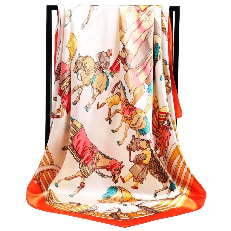 Luxury Brand Silk Scarf War Horse Belt Square Scarf New Design Print Kerchief Women Neck Shawl Wraps Echarpe Winter Scarf 90cm
