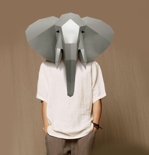Paper Mask 3d Animal Elephant Costume Cosplay DIY Paper Craft Model Mask Christmas Halloween Prom Party Gift 5