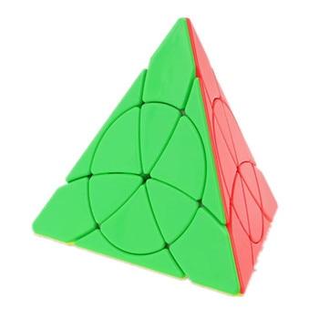 Płatek piramida Tetrahedron trójkąt Stickerless 3x3x3 prędkość magiczna kostka twist puzzle zabawka łamigłówka 3D IQ gra 3x3 YJ liść prezent